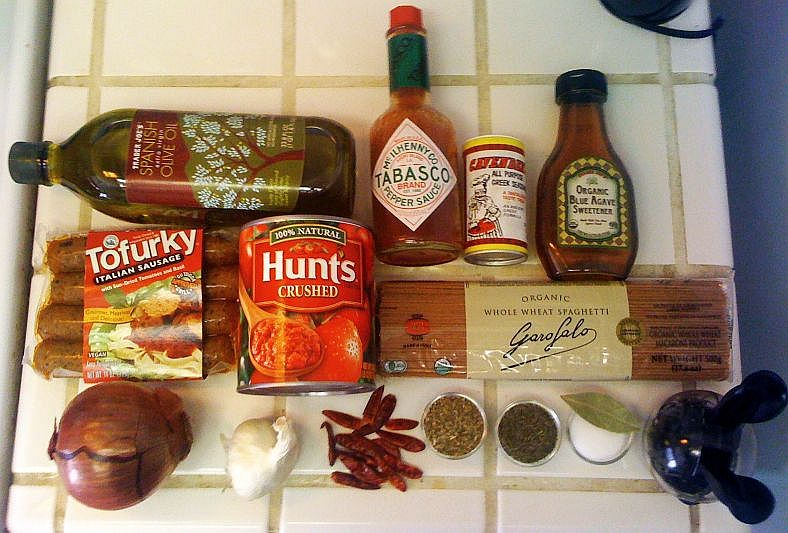 Ingredients Funky Vegan Spaghetti with Marinara and Italian Sausage