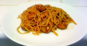 Funky Vegan Spaghetti with Marinara and Italian Sausage