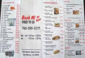 Banh Mi San Marcos Menu